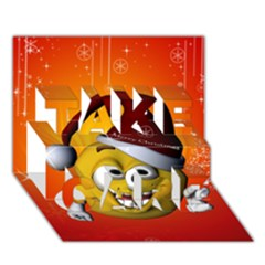 Cute Funny Christmas Smiley With Christmas Tree TAKE CARE 3D Greeting Card (7x5)