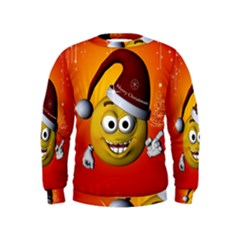 Cute Funny Christmas Smiley With Christmas Tree Boys  Sweatshirts