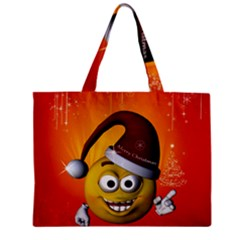 Cute Funny Christmas Smiley With Christmas Tree Zipper Tiny Tote Bags