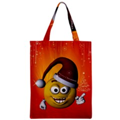 Cute Funny Christmas Smiley With Christmas Tree Zipper Classic Tote Bags