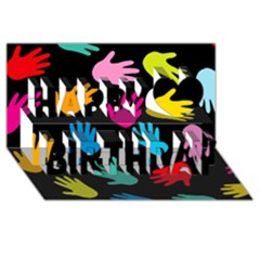 All Over Hands Happy Birthday 3D Greeting Card (8x4)