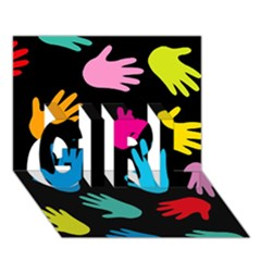 All Over Hands Girl 3d Greeting Card (7x5)