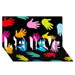 All Over Hands Believe 3d Greeting Card (8x4)