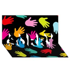 All Over Hands Sorry 3d Greeting Card (8x4)