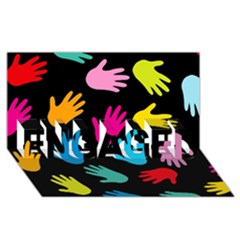 All Over Hands ENGAGED 3D Greeting Card (8x4)