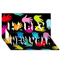 All Over Hands Happy New Year 3d Greeting Card (8x4)