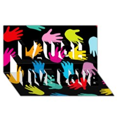 All Over Hands Laugh Live Love 3d Greeting Card (8x4)