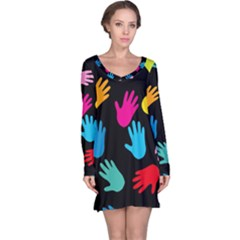 All Over Hands Long Sleeve Nightdresses