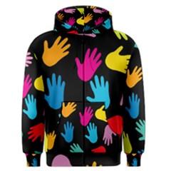All Over Hands Men s Zipper Hoodies