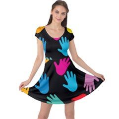 All Over Hands Cap Sleeve Dresses
