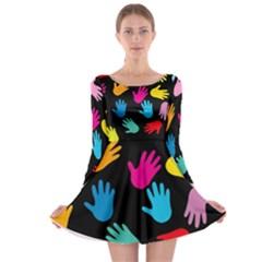 All Over Hands Long Sleeve Skater Dress