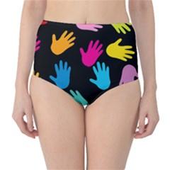 All Over Hands High-Waist Bikini Bottoms