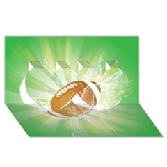 American Football  Twin Hearts 3D Greeting Card (8x4)