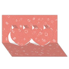 Sweetie Peach Twin Hearts 3d Greeting Card (8x4)