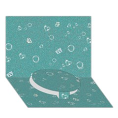 Sweetie Soft Teal Circle Bottom 3d Greeting Card (7x5)