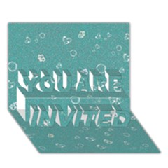 Sweetie Soft Teal You Are Invited 3d Greeting Card (7x5)