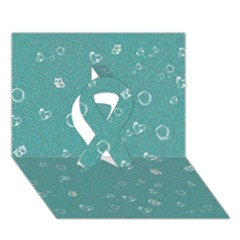 Sweetie Soft Teal Ribbon 3d Greeting Card (7x5)