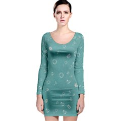 Sweetie Soft Teal Long Sleeve Bodycon Dresses