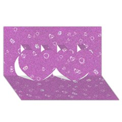 Sweetie,pink Twin Hearts 3D Greeting Card (8x4)