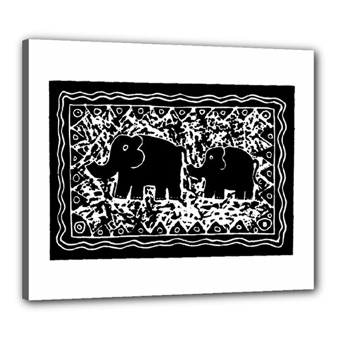 Elephant And Calf Lino Print Canvas 24  x 20