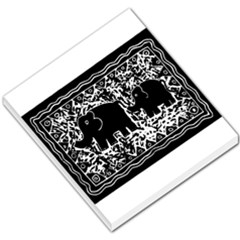 Elephant And Calf Lino Print Small Memo Pads