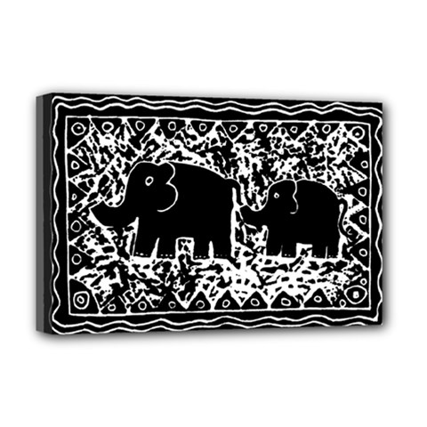 Elephant And Calf Lino Print Deluxe Canvas 18  x 12