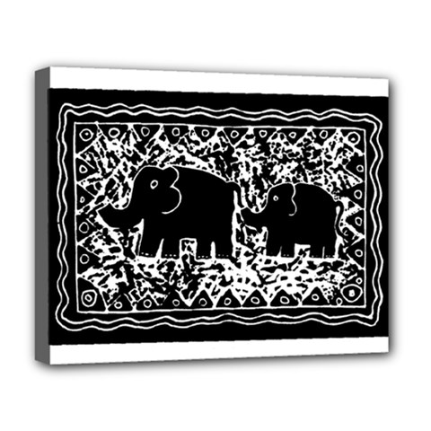 Elephant And Calf Lino Print Deluxe Canvas 20  x 16
