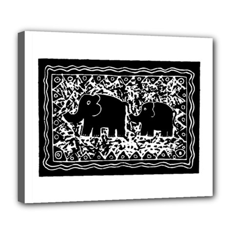 Elephant And Calf Lino Print Deluxe Canvas 24  x 20