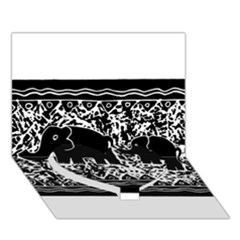 Elephant And Calf Lino Print Heart Bottom 3D Greeting Card (7x5)