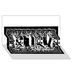 Elephant And Calf Lino Print BELIEVE 3D Greeting Card (8x4)