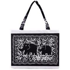 Elephant And Calf Lino Print Tiny Tote Bags