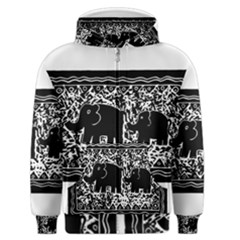 Elephant And Calf Lino Print Men s Zipper Hoodies