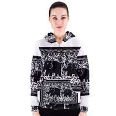Elephant And Calf Lino Print Women s Zipper Hoodies