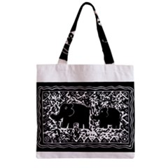 Elephant And Calf Lino Print Zipper Grocery Tote Bags