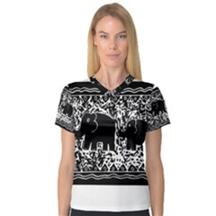 Elephant And Calf Lino Print Women s V-Neck Sport Mesh Tee