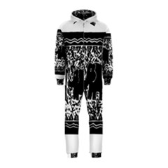 Elephant And Calf Lino Print Hooded Jumpsuit (kids)