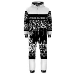 Elephant And Calf Lino Print Hooded Jumpsuit (Men)