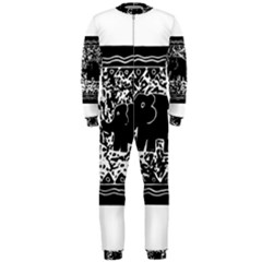 Elephant And Calf Lino Print OnePiece Jumpsuit (Men)