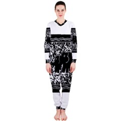 Elephant And Calf Lino Print OnePiece Jumpsuit (Ladies)