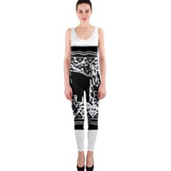 Elephant And Calf Lino Print OnePiece Catsuits
