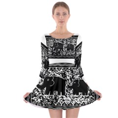 Elephant And Calf Lino Print Long Sleeve Skater Dress