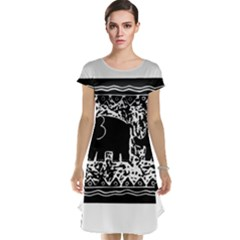 Elephant And Calf Lino Print Cap Sleeve Nightdresses
