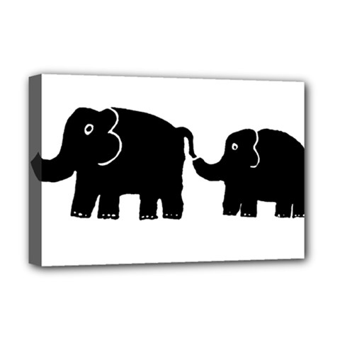 Elephant And Calf Deluxe Canvas 18  x 12