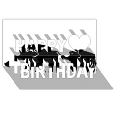 Elephant And Calf Happy Birthday 3D Greeting Card (8x4)