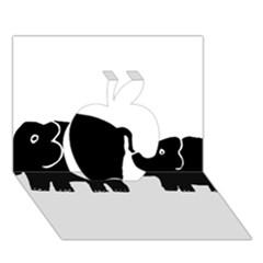 Elephant And Calf Apple 3D Greeting Card (7x5)