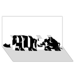 Elephant And Calf HUGS 3D Greeting Card (8x4)