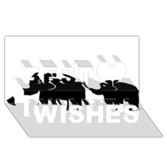Elephant And Calf Best Wish 3D Greeting Card (8x4)