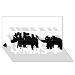 Elephant And Calf Merry Xmas 3D Greeting Card (8x4)