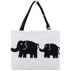 Elephant And Calf Tiny Tote Bags