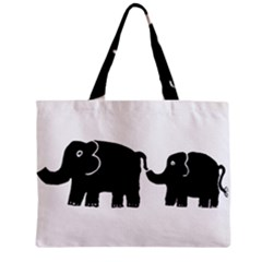 Elephant And Calf Zipper Tiny Tote Bags